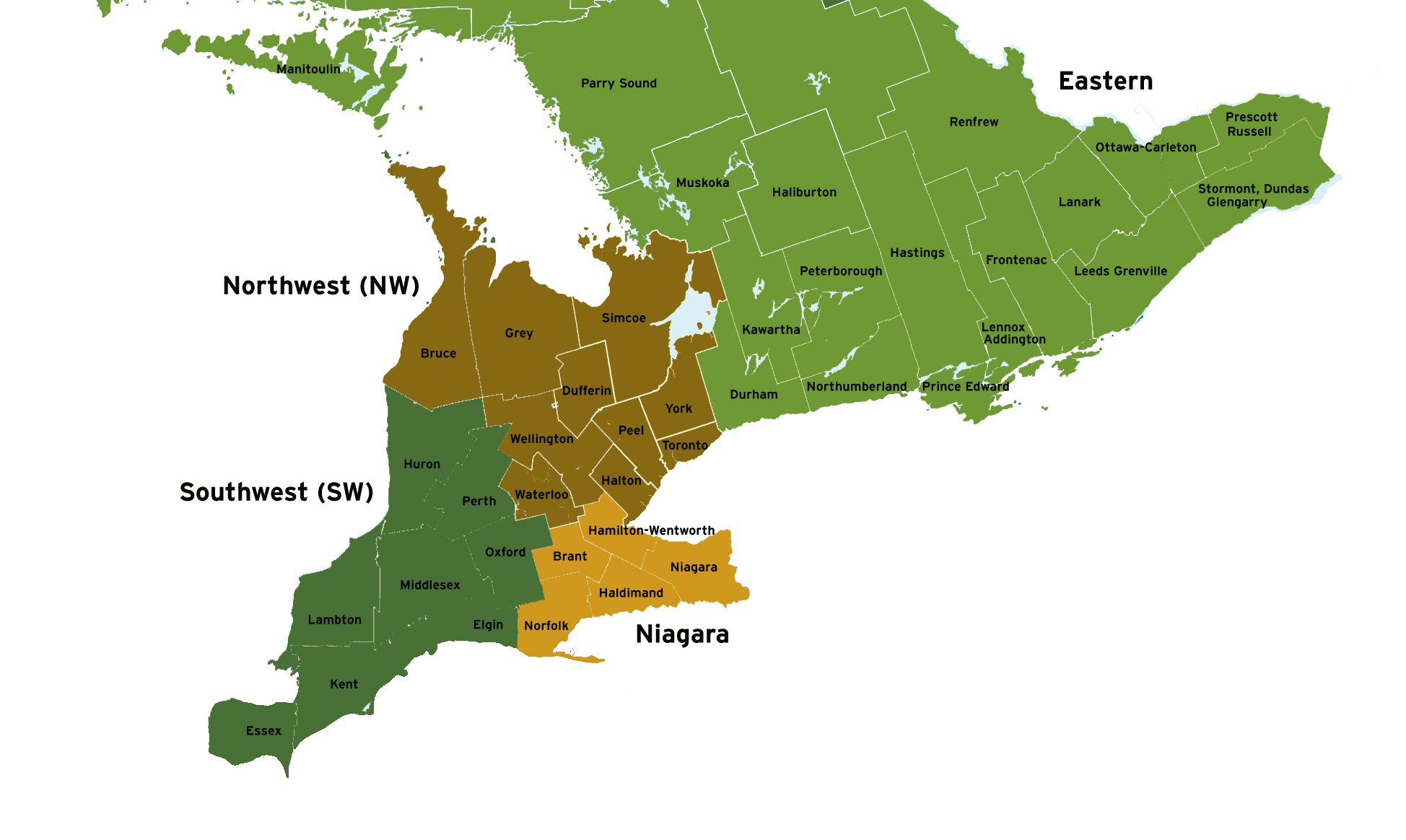 Wheat sampling regions in Ontario with county names